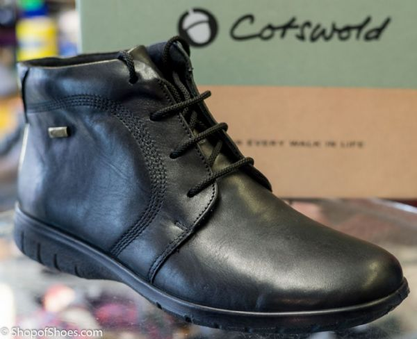 Cotswold waterproof black leather short laced boot